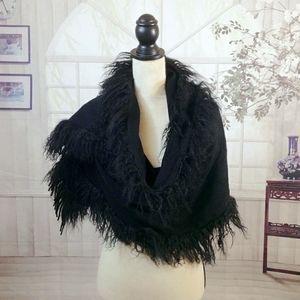Italian Lambswool large fringed shawl